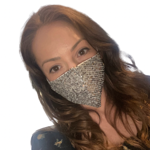 Silver sequins facemask