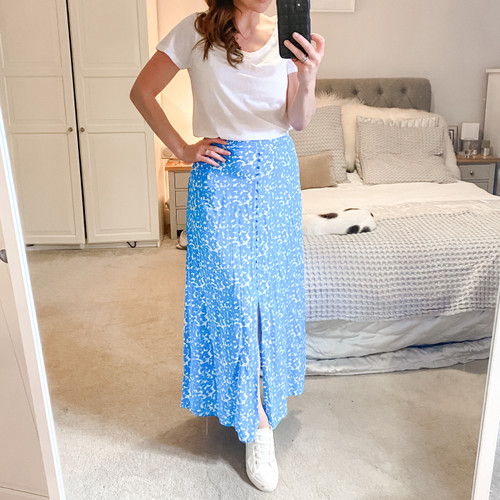 The Edit Buttoned Skirt - Blue