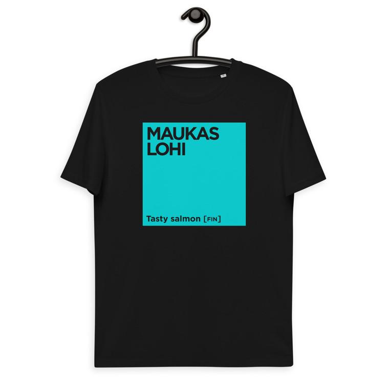 MAUKAS LOHI Unisex organic cotton t-shirt TURQUOISE PRINT