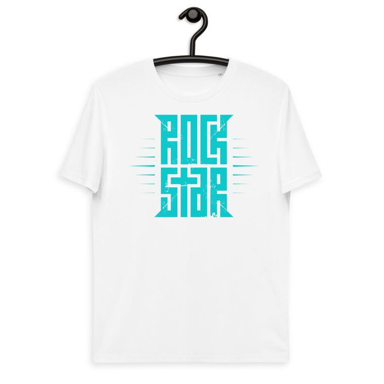 ROCKSTAR. Unisex organic cotton t-shirt. TURQUOISE PRINT