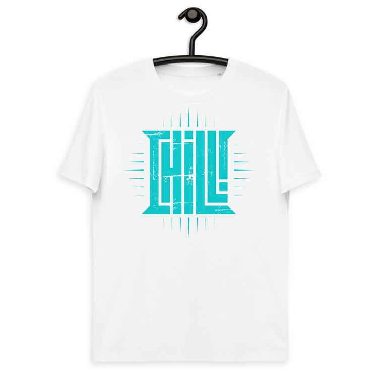CHILL. ROCKSTAR. Unisex organic cotton t-shirt. TURQUOISE PRINT