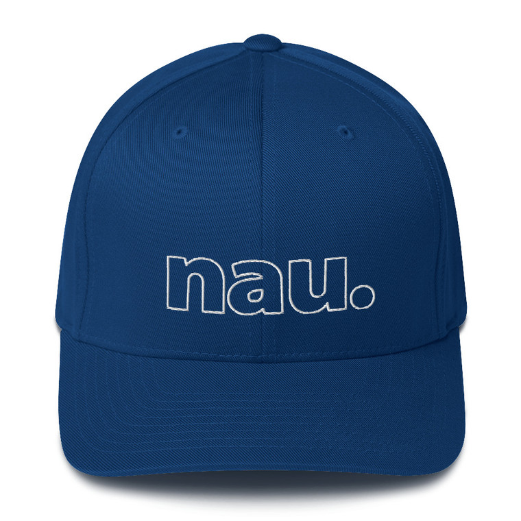 nau. Closed-Back Structured Cap. Simple lettering.