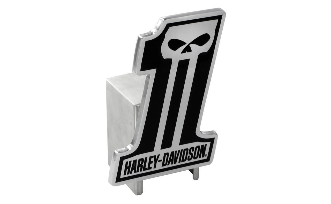Harley-Davidson #1 Skull Trailer Hitch Plug 2 Stainless Steel HDHC216