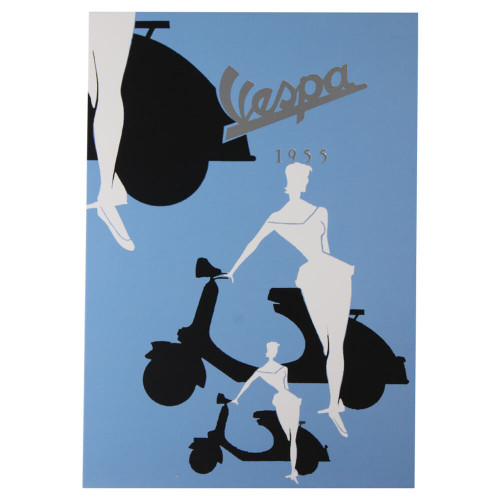 "Greeting Card (Vespa, Blue Silhouette, 4"" x 6"")"