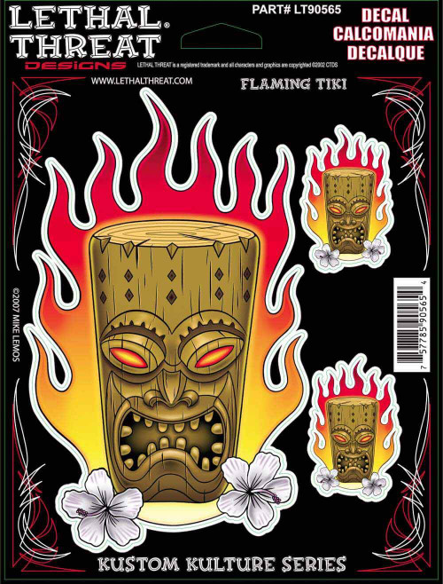 Decal/Sticker, Flaming Tiki - 6 x 8""