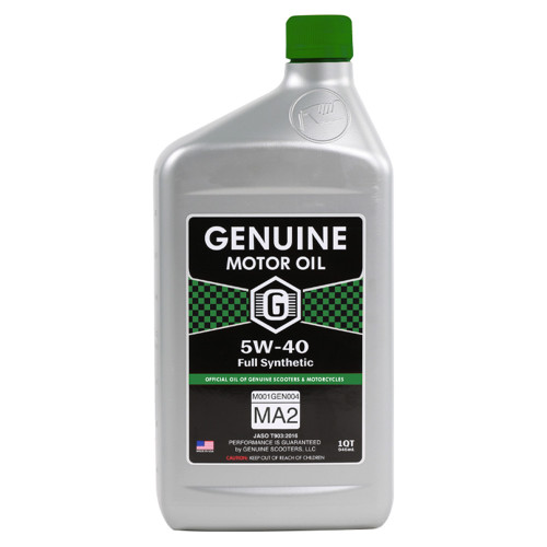 Genuine 4T Motor Oil (5W40, Full Synthetic MA-2); 1 Quart