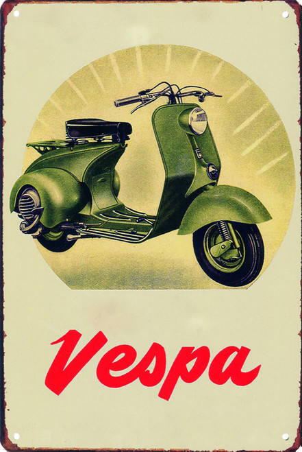 Green Vespa Widebody 8x12 Metal Sign