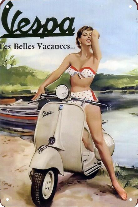 Vespa Les Belle Vacances 8x12 Metal Sign
