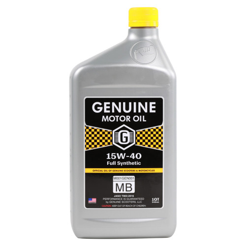 Genuine 4T Motor Oil (15W40, Full Synthetic MB); 1 Quart