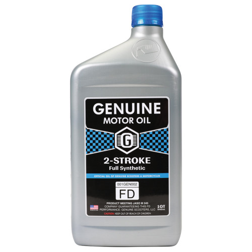 Genuine 2T Motor Oil (Full Synthetic JASO FD); 1 Quart