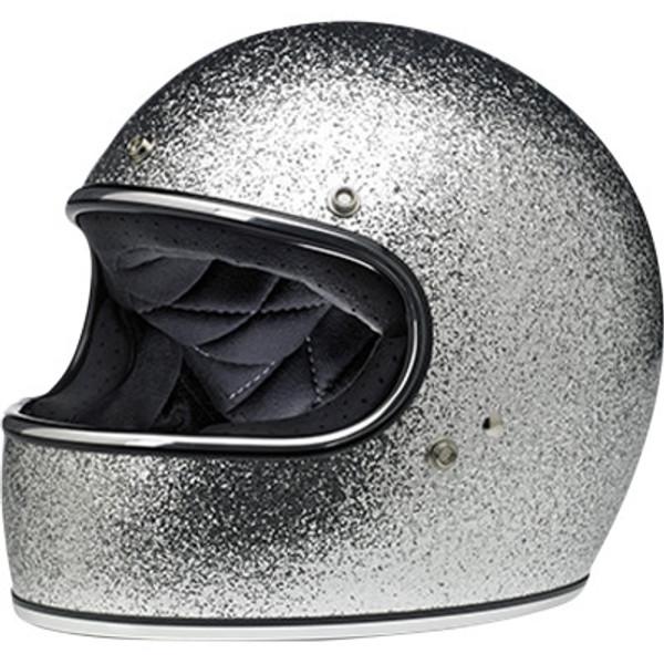 Biltwell Gringo Helmet in Brite Silver Megaflake