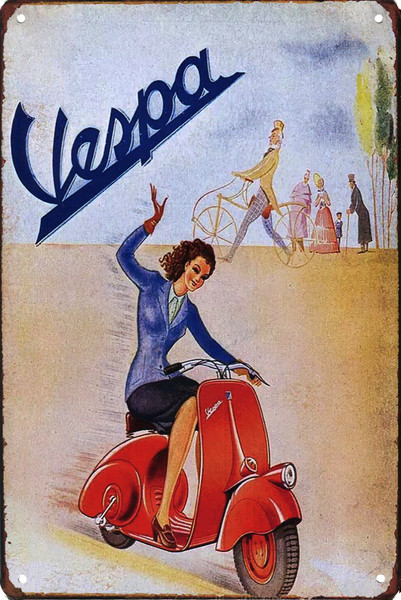 Woman Riding Vespa Fenderlight 8x12 Metal Sign