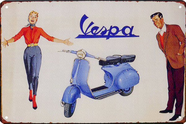 Blue Vespa VBB 12x8 Metal Sign
