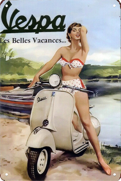 Vespa Les Belle Vacances 8x12 Metal Sign