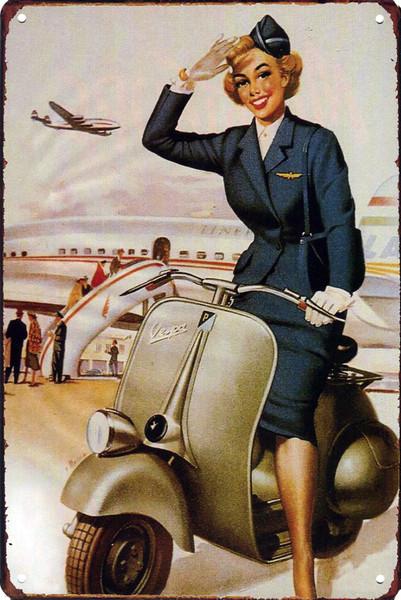 Vespa Stewardess 8x12 Metal Sign