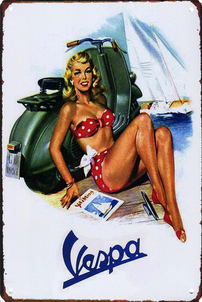 Vespa Pinup 8x12 Metal Sign