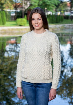 Cable Wool Knit Crew Sweater