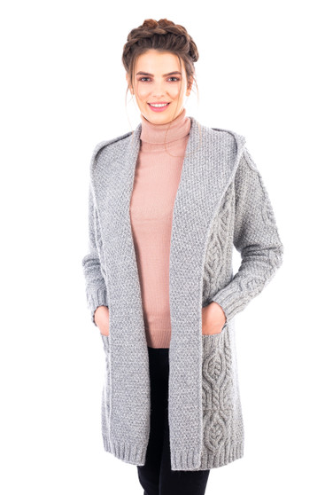 Ladies Classic Fit Long Cardigan with Hood