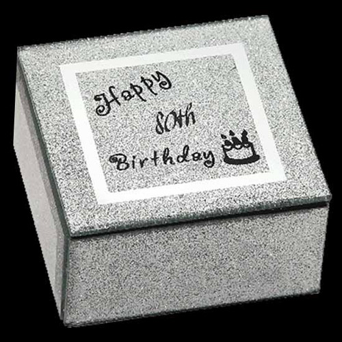 80th Birthday Jewellery Box on Glittered glass with black writing happy 80th birthday on glass with candles on cake