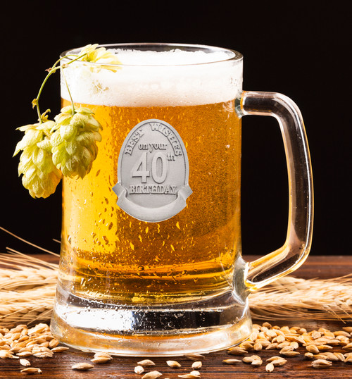 18th to 80th Birthday Glass Beer Mug with Silver Pewter Badge holds 500ml