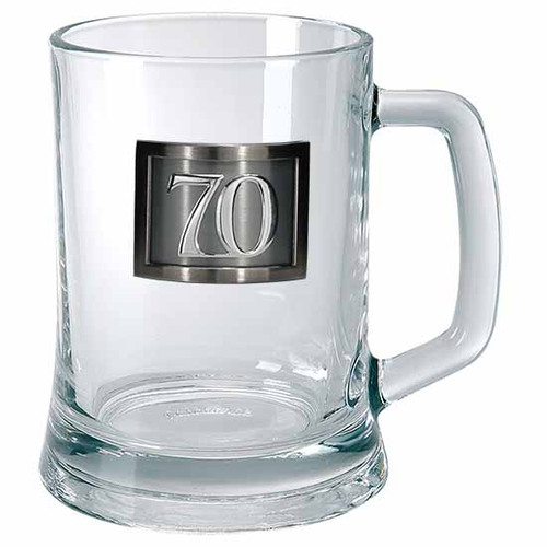 18th to 80th Birthday glass beer mug with Pewter rectangle framed with Sticker badge holds 500ml