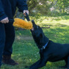 Double handled sheepskin tug toy is ideal for dogs who like to chew on hands.