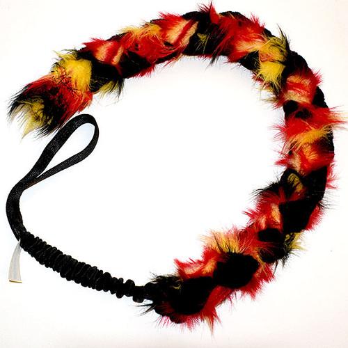Long, double braided fur dog tug.