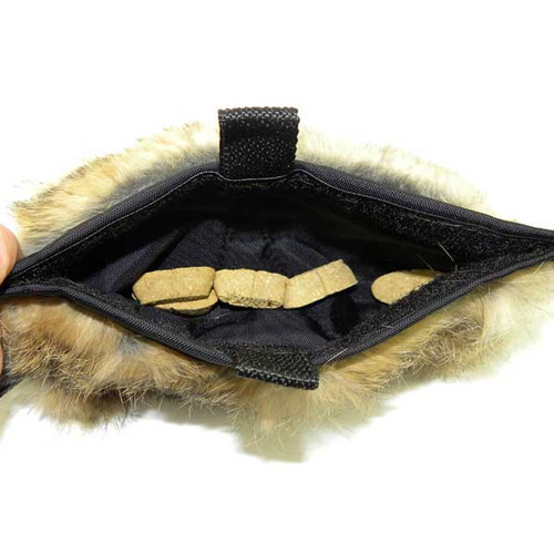 All-natural rabbit fur treat pouch - has waterproof liner and reinforced stitching.