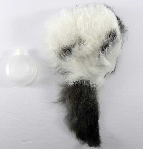 Real fur rabbit dog toy with squeaker for puppies, small dogs and cats.