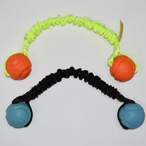 Ball tug toy with two small Chuckit Fetch balls.