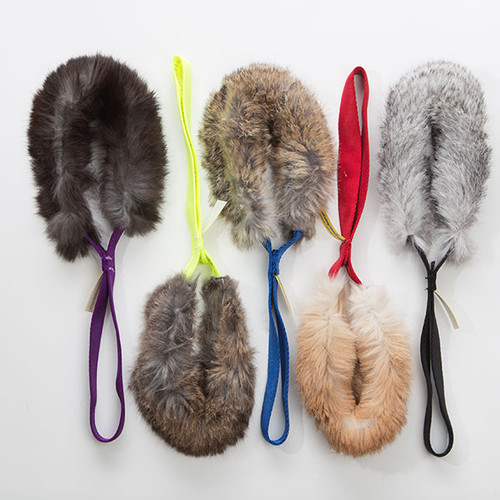 Non-toxic real rabbit fur dog toy.