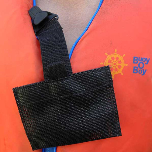 Mesh treat bag for dog water sports.