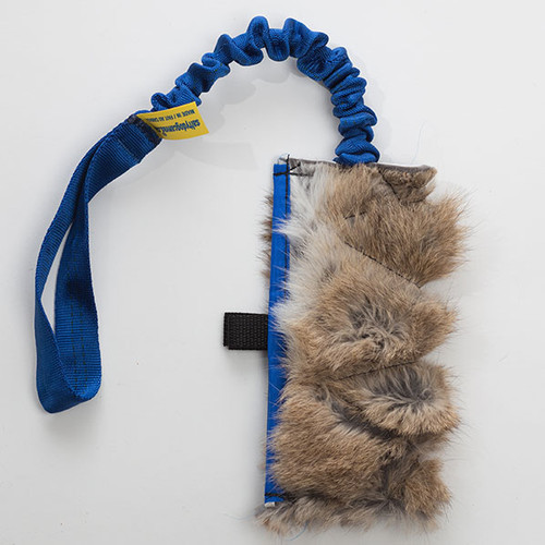 Non-toxic real rabbit fur treat bag with bungee.