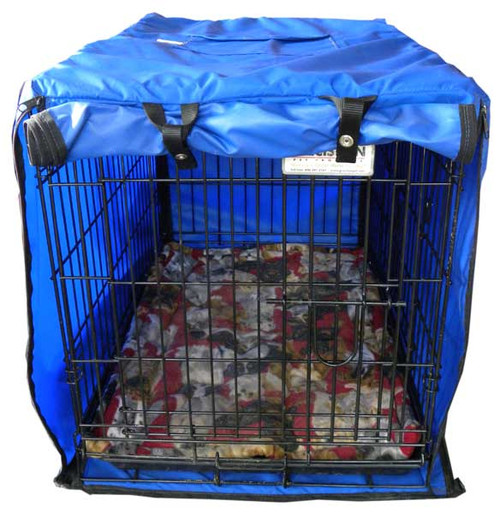Custom dog crate cover - Safety, privacy and protection from chilly drafts and cold floors.