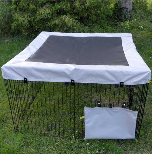 Exercise pen cover with solar fabric top.