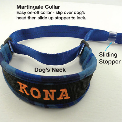 Martingale collar slips over dog's head then slide stopper down to lock the collar.