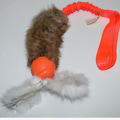 Non-toxic rabbit fur and Chuckit ball tug toy