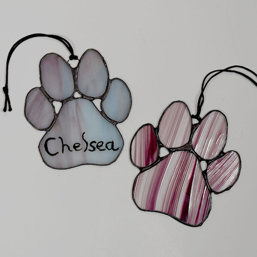 Handcrafted Canadian made stained glass dog paw suncatcher with or without name makes the ideal gift for dog lovers.