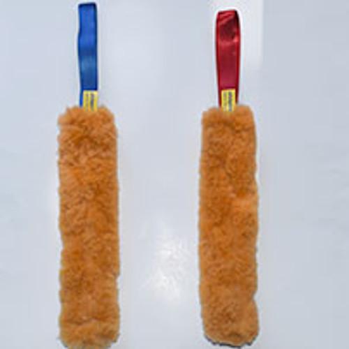 Light weight, non-toxic sheepskin dog toy has no bungee.