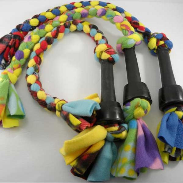 Braided fleece dog tug toy