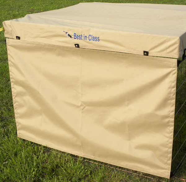Dog exercise pen side screen made of marine-grade, coated 100% polyester protects your dog from sun, wind, weather and distractions.  Made in Canada