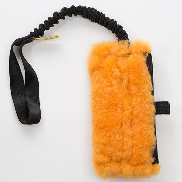 Sheepskin dog treat bag.