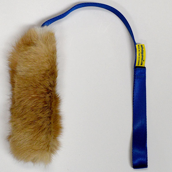 Real rabbit fur stuffed dog toy with long handle.