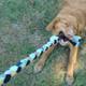 Braided fleece dog tug toy - combination of milker and fleece.