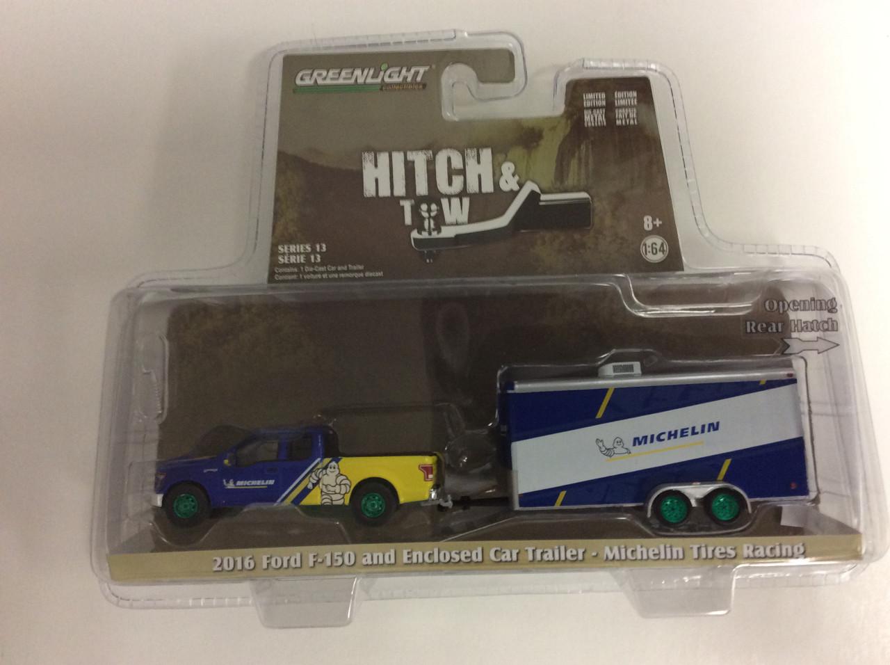 1:64 GreenLight *HITCH /& TOW 13 MICHELIN 2016 Ford F-150 w//ENCLOSED CAR TRAILER