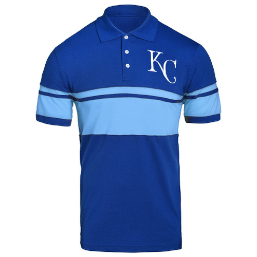 MLB Team Apparel Cotton Stripe Polo Team Color Kansas City Royals