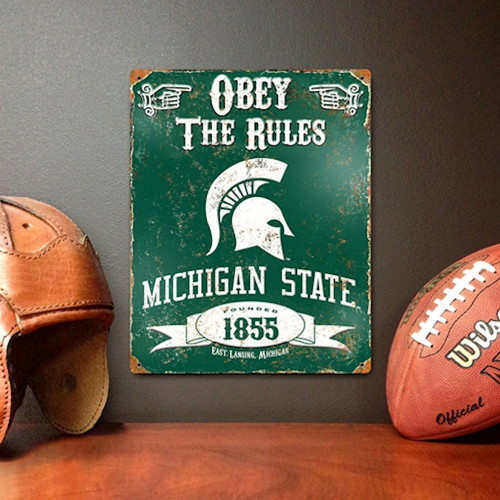 Michigan State Spartans Embossed Metal Vintage Sign