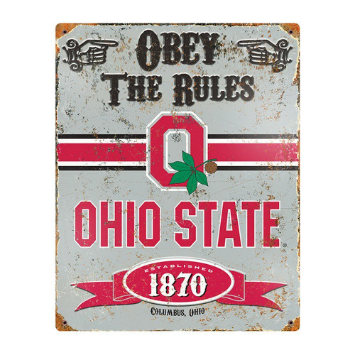 Ohio State Buckeyes Embossed Metal Vintage Sign