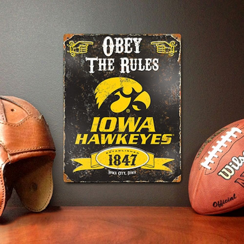 Iowa Hawkeyes Embossed Metal Vintage Sign