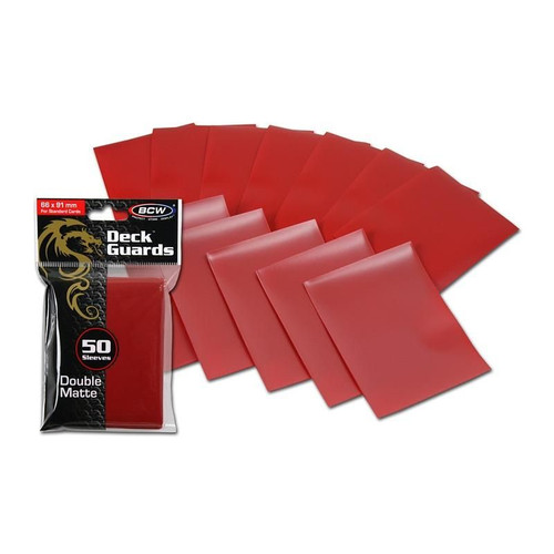 BCW DECK GUARDS CARD SLEEVES - RED (50 Sleeves)